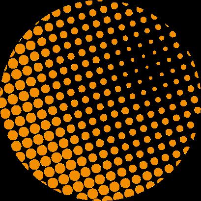 decoratief element, oranje cirkel opgemaakt uit oranje stippen